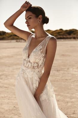 Zavana Bridal A-Line Plunge Sparkle Gown