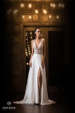 Zavana Bridal Plunge ALine Gown