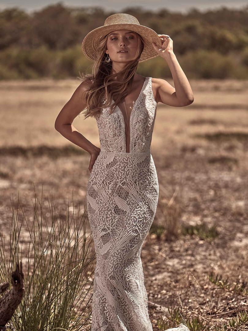 White April Striking Lace Wedding Dress