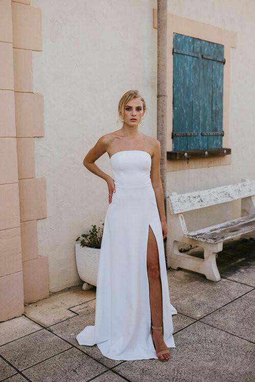 Cizzy Bridal Strapless Slit Wedding Gown