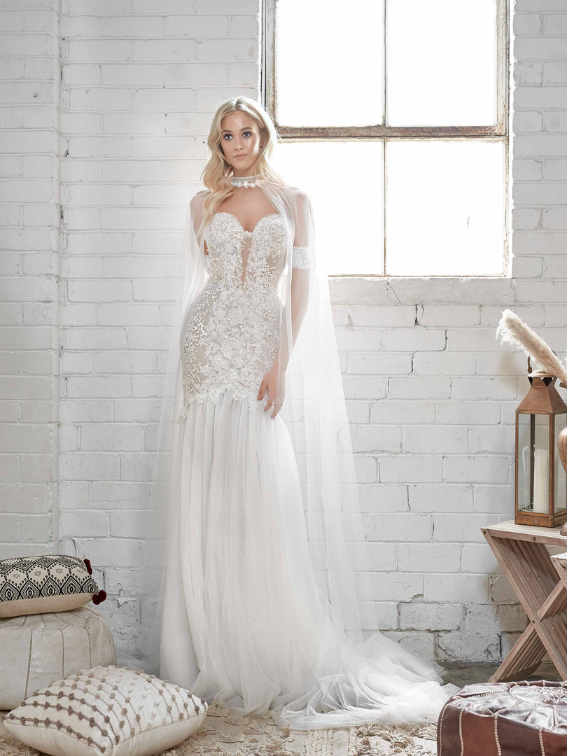 White April Bandeau and Cape Wedding Dress