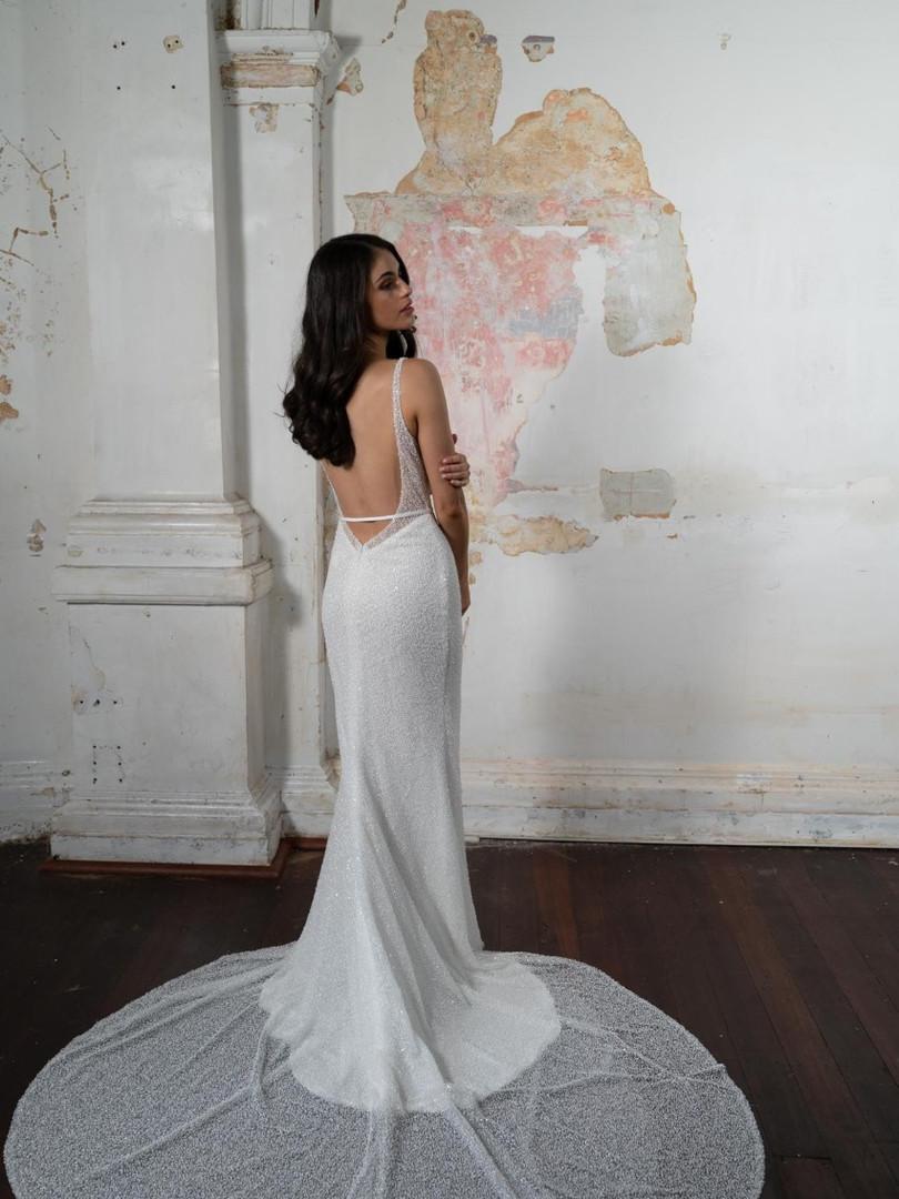 Cizzy Ivory Beaded Mermaid Gown