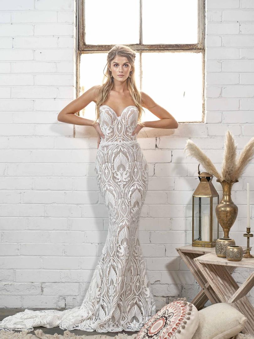 White April Strapless Boho Lace Wedding Dress