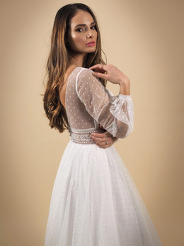 GAIA bridal Sorrento Dotty Tulle Long Sleeve Wedding Dress