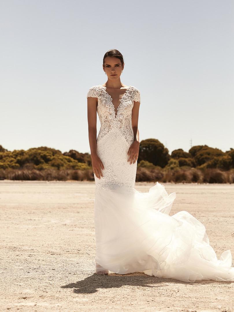 Zavana Lace Cap Sleeve Wedding Dress