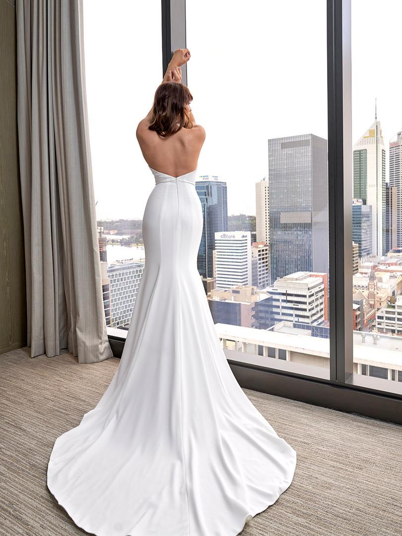 Cizzy Jo Halterneck Crepe Gown