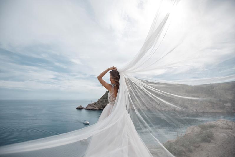 Simple Cut Bridal Veil in Ivory