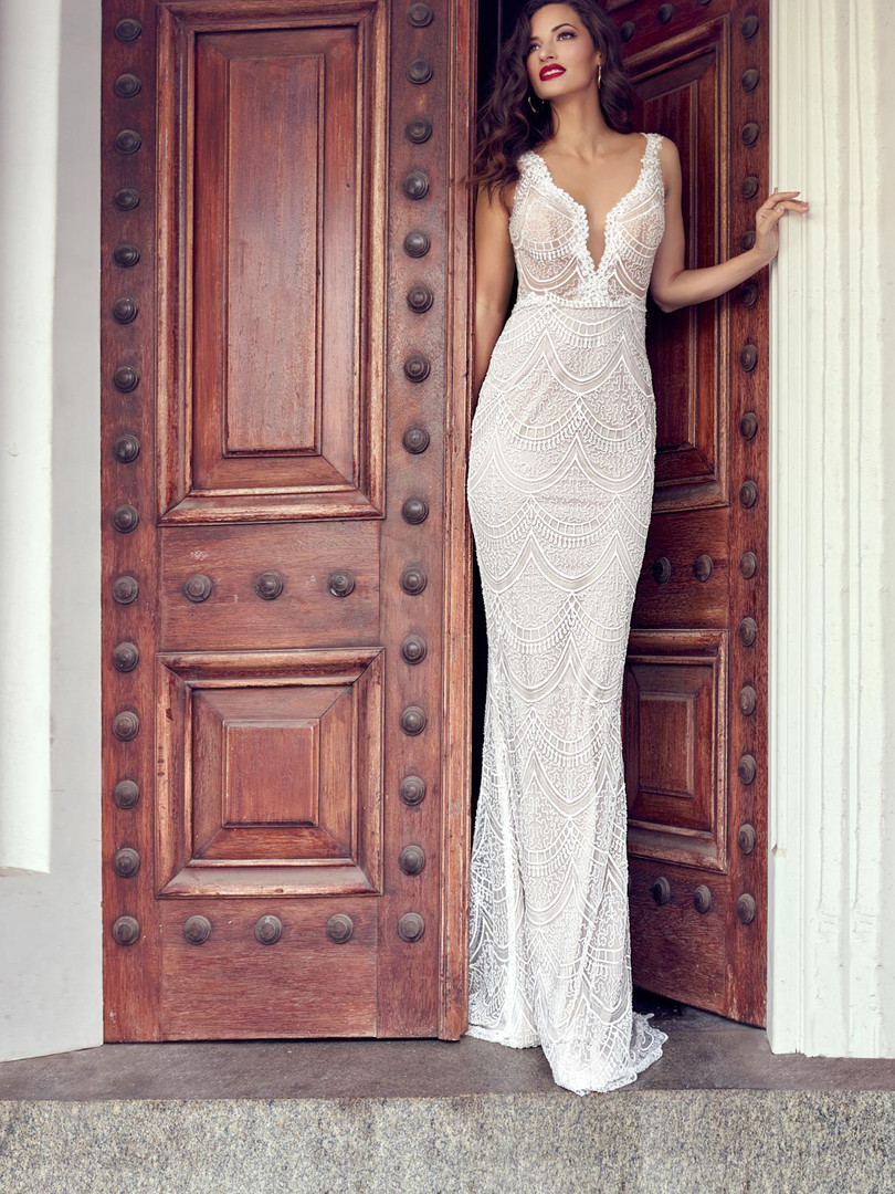 Zavana Lace and Beaded Slinky Wedding Dress