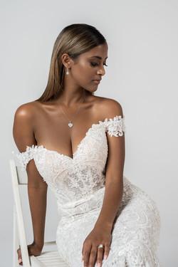 Zavana Bridal Intricate Lace Bardot Wedding Dress