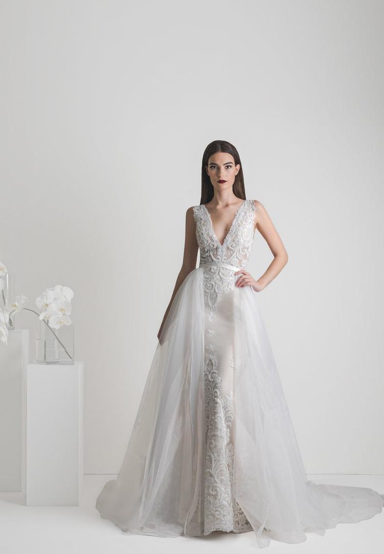 Zavana Bridal Statement Two Piece Wedding Dress with Overskirt
