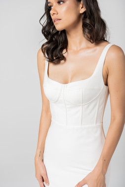 Cizzy Bodice Seam Crepe Wedding Gown
