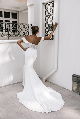 Flawless Zavana Bridal Lace and Crepe Gown with Buttons