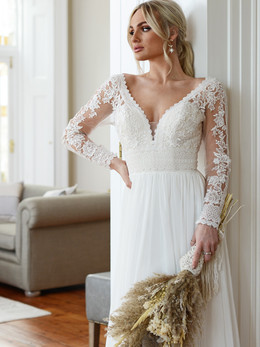 GAIA Bridal's Pippa Long Sleeve Lace Gown