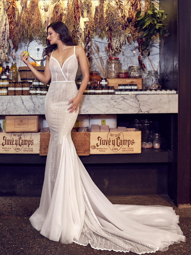 Zavana Bridal Linear Beaded Fitted Wedding Gown