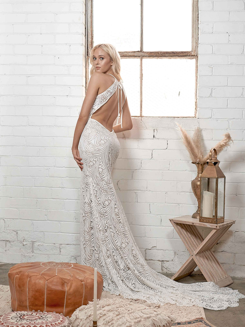 White April Backless Boho Gown