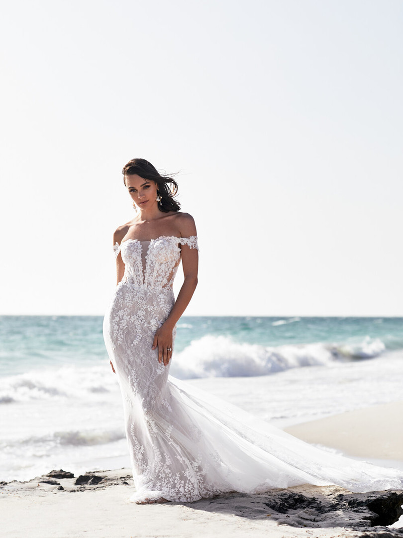 Zavana Bridal Bardot Embellished Wedding Dress