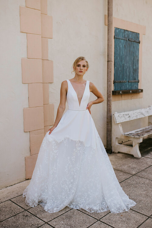 Cizzy Plunge Crepe A-Line Wedding Gown