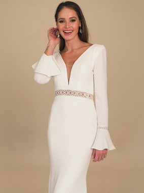 GAIA Bridal's Livorno Fluted Sleeve Gown