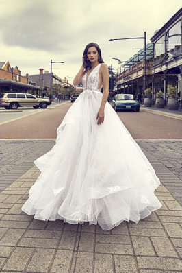 Zavana Bridal Plunge Tulle Gown