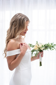 Ivory Crepe Bardot Gown