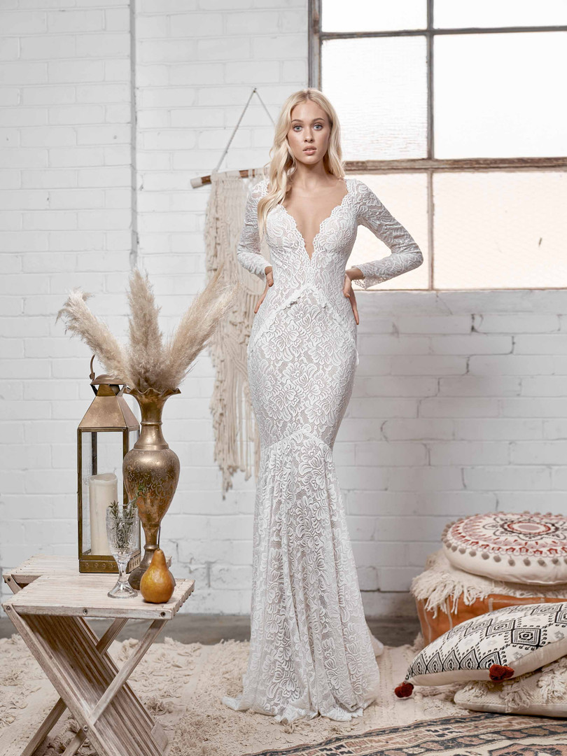 White April Long Sleeve Lace Gown