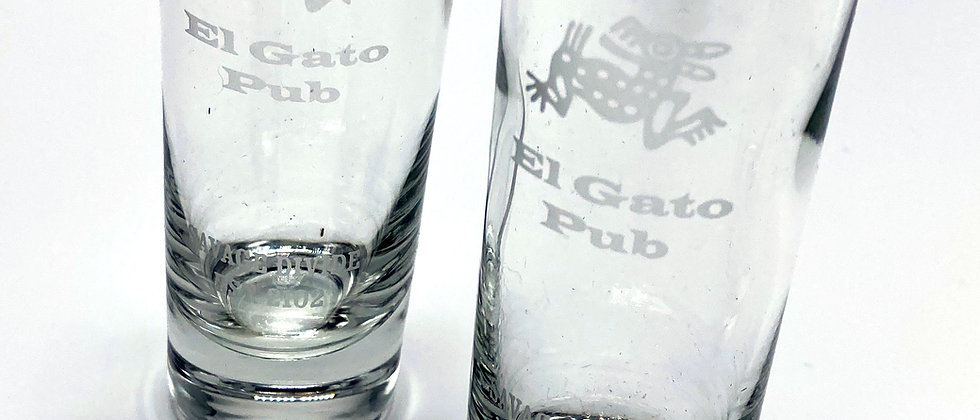Set of 2 EL  GATO PUB Branded Shot Glasses & Coasters