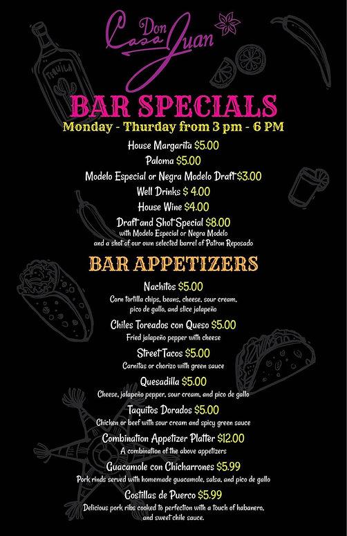 Casa Don Juan Bar Specials and Bar Appetizers Image