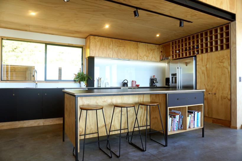 Plywood kitchen.