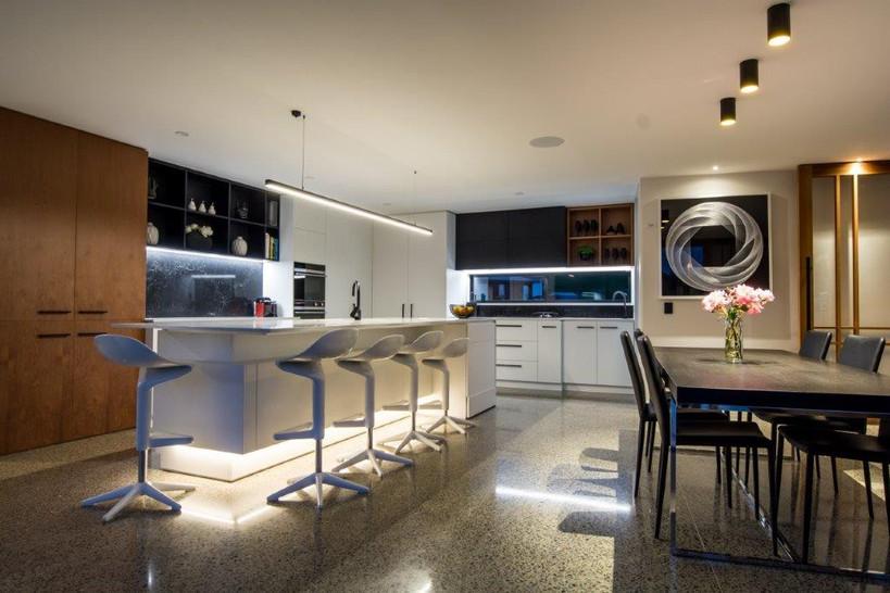 Illuminated kitchen.