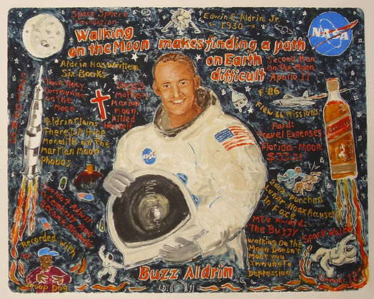 Buzz Aldrin- Oil-on-Paper 45X35 From the Fast-Forward Empire series.