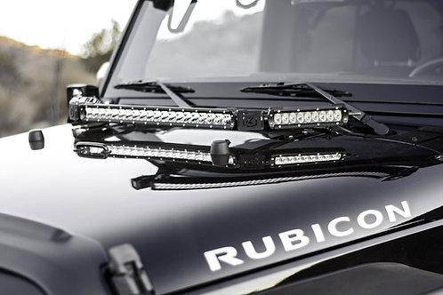 07-17 Jeep JK/JKU Hood Hinge LED Kit, w/20 Inch & (2) 6 Inch LED SRS Light Bars