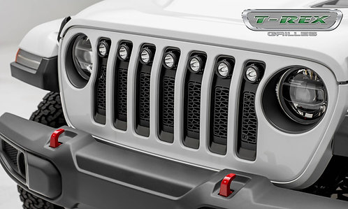 "18-20 Jeep JL/JLU, Gladiator Grille, Blk 1 Pc Insert, w/(7) 2"" LED Round Lights"