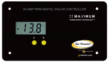 Go Power 30 Amp Digital Solar Controller for 80 - 480 watts of power