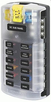 DC Sub Panel, ST Blade 12 Fuse Block w/Cover - By Blue Sea