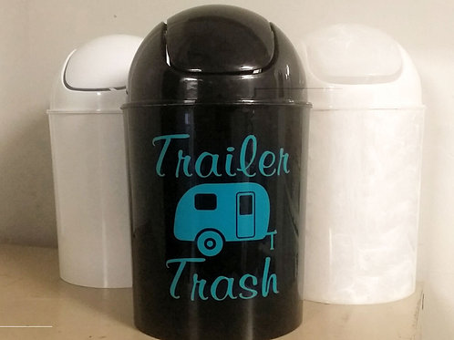 """Teal coloured 6""""×6"""" Decal for camper trash can (Decal only)"""