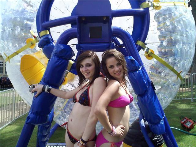 Brunette Bikini girls about to ride