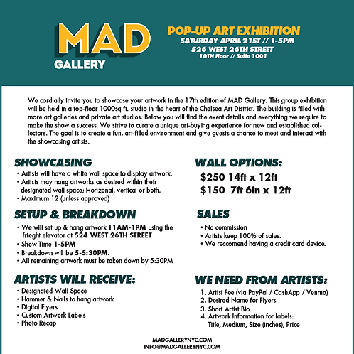 MAD Gallery NYC // Chelsea May 2-4th
