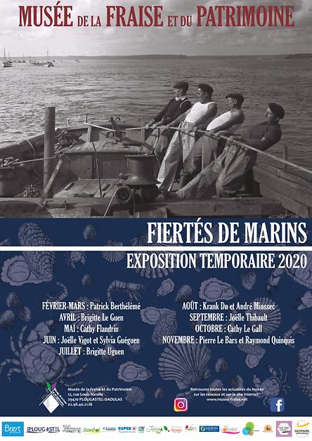 """Affiche de l'exposition temporaire """"Fiertés de marins"""" Musée de la Fraise et du Patrimoine 2020"""