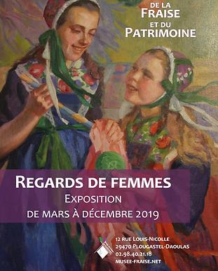 """Affiche de l'exposition temporaire 2019 """"Regards de Femmes"""" - Musée de la Fraise et du Patrimoine"""