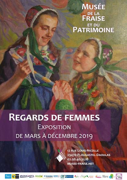 """Affiche de l'exposition temporaire 2019 """"Regards de Femmes"""" Musée de la Fraise et du Patrimoine"""