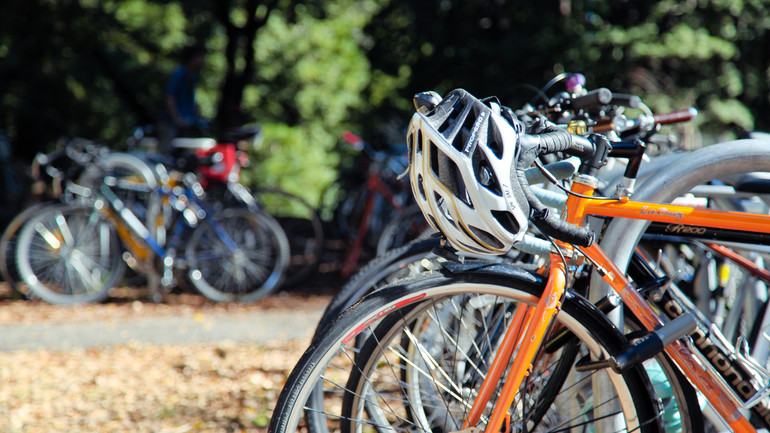 Bicycles at a bike stand