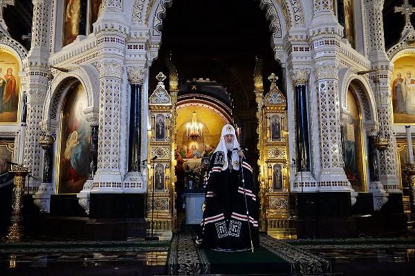 Святейший Патриарх в храме Христа Спасителя