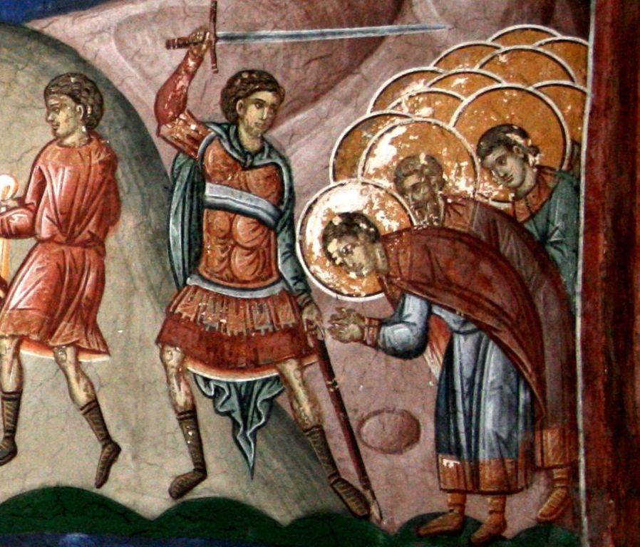 Мученик Иерон Милитинский. Фреска. Сербия, 14 век
