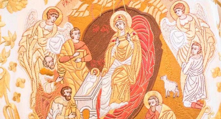 Сцена Рождества Христова. Вышивка.