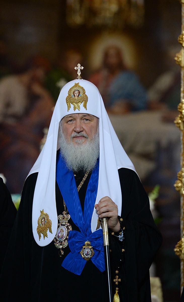Патриарх Кирилл с орденом имени святого апостола Андрея Первозванного