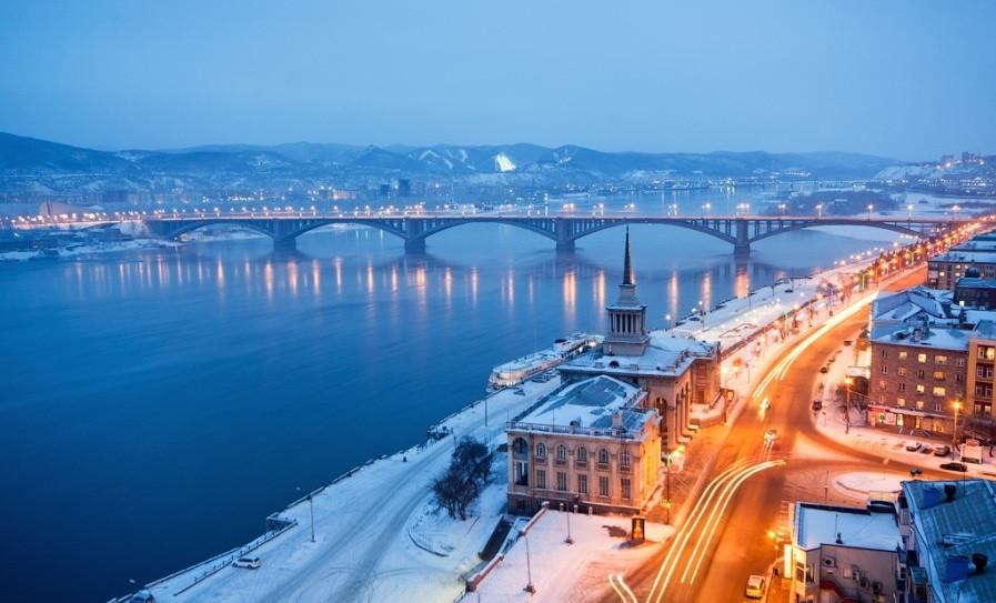 Вид вечернего Красноярска