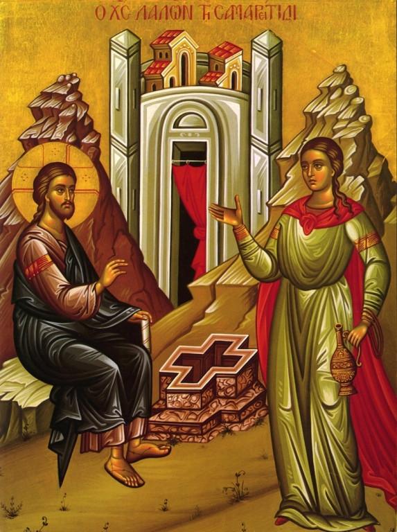 Христос и самарянка. Греческая икона