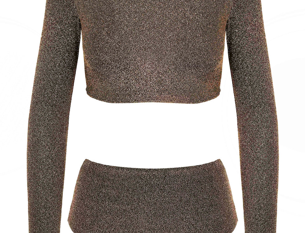 Bronze Lurex Long Sleeve Bikini