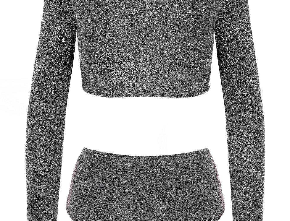 Pearl Silver Sleeve Lurex Bikini