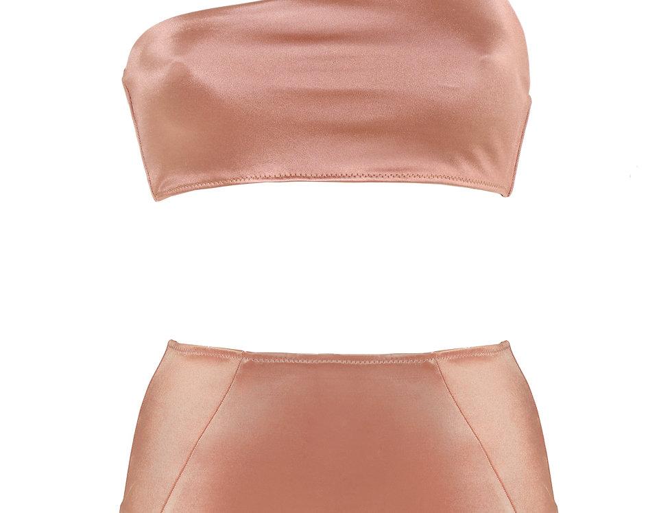 Nude Satin One Strap Bikini